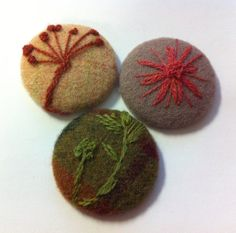 3 fabric buttons   embroidered  wool mix 1 7/8 ♡ by EmbellishedLife2