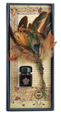 Peacock Plume Pen & Ink Shakespeare would envy this...a grand presentation box invites the art of scribed thought that accompanies the ritual of true letter writing. Handsome ornamental castings.