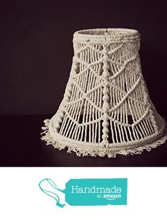Macrame lamp shade. Eco decor. Geometrical light fixture. Table light shade from Macrame by Rita Sunderland
