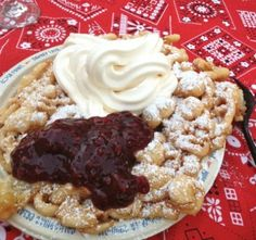 Knotts Berry Farm Funnel Cake with ice cream and boysenberry topping