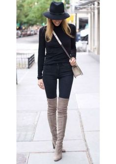 Take a look at the best what to wear with velvet jeans in the photos below and get ideas for your outfits! Neutral coloured over the knee boots will look great paired with an all black outfit. Via Lisa D… Continue Reading → Grey Boots Outfit, Beige Outfit, Outfit Jeans, Outfits With Grey Boots, Chic Black Outfits, All Black Outfit, Mode Outfits, Fashion Outfits, Womens Fashion