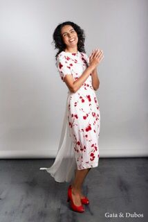 Robe Fleurie - #Stylish #floral #dress made from #repurposed #crepe & #silk #chiffon. #Ethical #fashion by www.gaiaetdubos.com