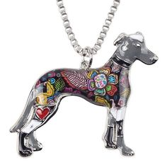 Bonsny Greyhound Dog Pendant Necklace