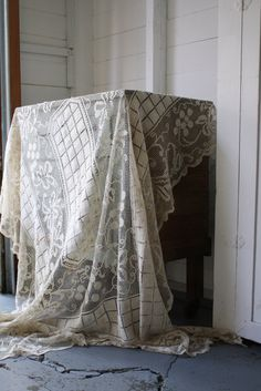 vintage crochet net lace tablecloth panel by littlebyrdvintage  $34