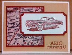 Masculine Miss You Card for OWH, using Stampin Up Classic Cars set & Sentiment from Hero Arts OWH Fundraiser stamp set