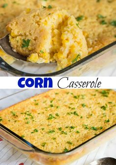Corn Casserole Recip Corn Casserole Recipe - A classic holiday side dish that is easy enough to make any night of the week. A cross between creamed corn and cornbread makes a delicious addition to any meal. Holiday Side Dishes, Side Dishes Easy, Side Dish Recipes, Easy Dinner Recipes, Easy Meals, Corn Recipes, Lunch Recipes, Yummy Recipes, Dinner Ideas