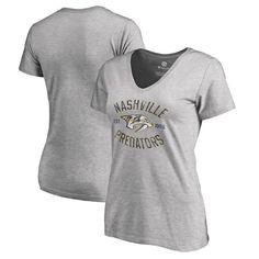Nashville Predators Fanatics Branded Women's Plus Sizes Heritage T-Shirt - Ash