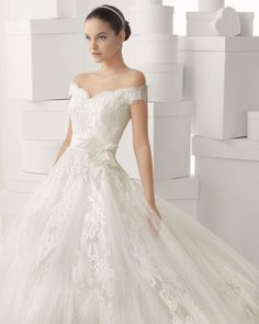 off the shoulder lace top ballgown wedding dresses | ... 2014 A Line Glamorous Off-The-Shoulder Ball Gown Lace Wedding Dress