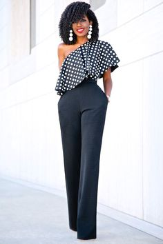 Polka Dot Single Shoulder Top + High Waist Belted Pants