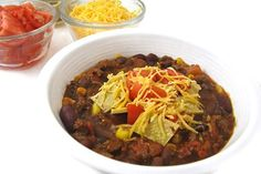 This is a fabulous, fiber-rich chili. In fact, each cup contains 9 grams of fiber! It's so versatile too. Serve in individual bowls and let everyone top their own, stuff a baked potato or t…