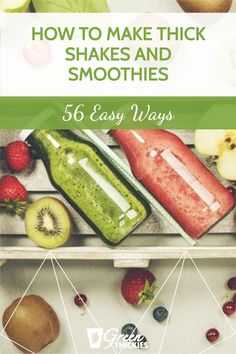There are 56 easy ways to make thick shakes and smoothies. Here are 56 ingredients you can add to your smoothies that will thicken them up nicely. Smoothie Diet Plans, Smoothie Prep, Fruit Smoothie Recipes, Smoothie Ingredients, Healthy Meal Replacement Shakes, Healthy Shakes, Protein Shakes, Raw Vegan Smoothie, Green Detox Smoothie