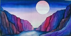 """Silk painting - """"Beyond the Mountains"""" by Françoise Koester"""