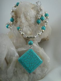 Turquoise and Silver Necklace and Earrings by GumboCreations, $50.00