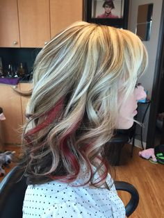 Red peek-a-boo on blonde with brown lowlights