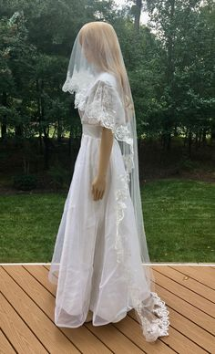 Lace Trimmed Bridal Wedding Veil