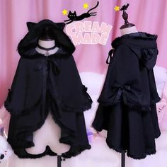 Gothic Black Cat Hoodie Cape Coat sold by SpreePicky. Shop more products from SpreePicky on Storenvy, the home of independent small businesses all over the world. Harajuku Fashion, Kawaii Fashion, Lolita Fashion, Cute Fashion, Gothic Fashion, Fashion Outfits, Cosplay Outfits, Anime Outfits, Cool Outfits