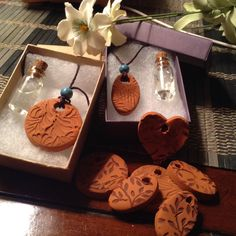 For a year after my heart surgery (5 bypasses) I could not sleep! I made a blend of lavender, chamomile and a few other essential oils and made these terra cotta diffuser pendants. I also made an energy blend with citrus and other essential oils...I donate the heart pendants to heart surgery survivors! Great fun to make!