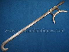 Rare 19th C. Chinese Qing Period Tiger Hook Sword Shuang Gou, of Chinese layered damascus steel