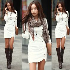 Women Bandage Bodycon Long Sleeve One-Breasted Sexy Party Cocktail Mini Dress White Dress With Sleeves, White Sheath Dress, Long Sleeve Cotton Dress, Dresses With Sleeves, Sleeve Dresses, Dress Long, Bodycon, Embellished Dress, Clothes For Women