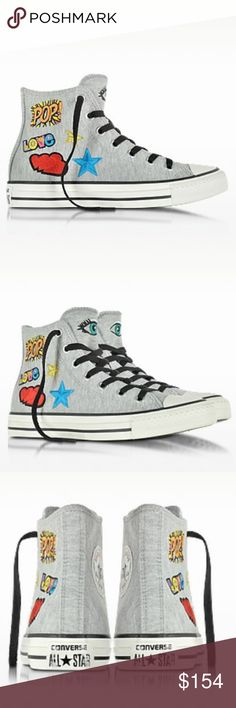 CONVERSE LIMITED EDITION All Star Melange Sneaker All Star High Melange Gray Fleece Patches Women's Sneaker crafted in soft fleece with pop art patches, adds an extra playful edge to the classic Chuck. Featuring fleece upper with canvas lining, patch motif, lace-up closure, reinforced rubber cap toe, star patch on inner ankle and vulcanized rubber sole. Signature box included.Fabric ColorGray Heel TypeFlat SoleRubber LiningCanvas ClosureLace-up Converse Shoes Sneakers