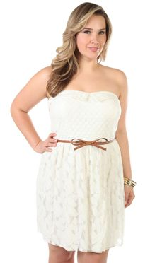 Deb Shops plus size all over lace #bow belt  - my lace wedges i just got would look so cute with this dress.