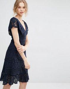 Foxiedox Lace Deep V Midi Dress