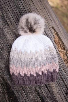 The Peaks Beanie pattern by Ria Plachutin - I designed this hat after having a few braids of Caron x Pantone sitting around for a little too lo - Gilet Crochet, Crochet Beanie, Knitted Hats, Knit Crochet, Crochet Hats, Loom Knitting Projects, Baby Knitting Patterns, Free Knitting, Christmas Knitting Patterns