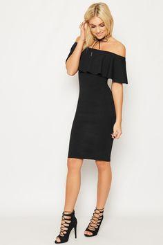 Kaila Frill Bardot Party Dress   WearAll