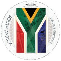 South Africa's national flag was designed by a former South African State Herald, Mr Fred Brownell, and was first used on 27 April National Symbols, National Flag, Office Stamps, African Symbols, South Afrika, South African Design, African States, African Animals, West Africa