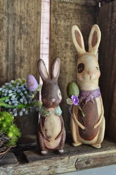 Lavender Medium Bunny Folk art paperclay by apinchofprim on Etsy Doll House Crafts, Doll Houses, Paper Mache Clay, Easter Crafts, Easter Decor, Easter Ideas, Easter Parade, Asian Doll, Paperclay