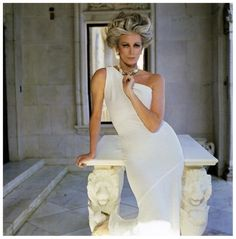 Carmen wearing a white one-shoulder dress by Frank Masandrea, San Simeon, Hearst Castle, Town & Country magazine, 1981 Photo Norman Parkinson
