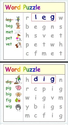 MINI Puzzles on a page); CVC words w/ pictures. English Worksheets For Kindergarten, Phonics Worksheets, Kindergarten Worksheets, In Kindergarten, Kindergarten Word Search, Jolly Phonics Activities, Word Family Activities, Sight Word Worksheets, Word Puzzles For Kids