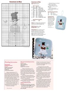 Cross Stitch XS Snowman On Blue Ornament, Just Cross Stitch Christmas Ornaments 2014, Vol. 32, No. 6 - Medina Originals