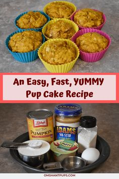 dog cake recipe Looking for an easy, fast pupcake recipe for dogs This cake recipe is so simple! Check it out using ingredients you probably have in your cabinets right now! via OmShantiPups Pupcake Recipe For Dogs, Dog Safe Cake Recipe, Dog Cake Recipes, Delicious Cake Recipes, Dog Treat Recipes, Yummy Cakes, Dog Food Recipes, Dog Cake Recipe Pumpkin, Keto Recipes