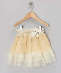 Take a look at this Beige Tulle Tiered Skirt - Toddler & Girls on zulily today!
