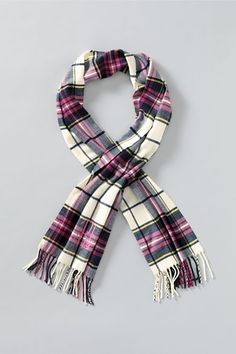 Women's CashTouch Plaid Scarf from Lands' End classic navy