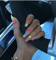 Nails 520165825711763862 - 6 Summer Nail Art Ideas for 2019 – Summer Nail Designs Kylie Nails, Edgy Nails, Aycrlic Nails, Neon Nails, Stylish Nails, Trendy Nails, Swag Nails, Grunge Nails, Sparkle Nails