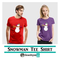 Snowman Tee Shirt  - Snowman with scarf blowing in the wind Tee Shirt by #Gravityx9 at #Spreadshirt - This design is also available on tee shirts, mugs, pillows, electronic cases and more!~Shirts are available in several colors, sizes and styles (hoodies, tank tops, etc). Click the Size Chart for the best fit. You can add text or an image to the back side of the shirt, too. #snowmenyearround