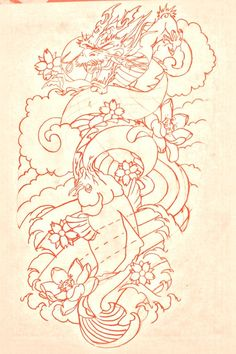 koi and dragon tattoo designs | koi dragon sleeve lines by BMXNINJA on deviantART