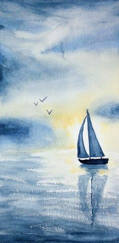 Boat on the sea with sunset at the watercolor painting rnrnSource by katellaquarelle Landscape Painting Artists, Watercolor Paintings Nature, Watercolor Paintings For Beginners, Watercolor Sea, Beginner Painting, Watercolor Illustration, Mountains Watercolor, Drawing Sunset, Seafarer