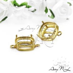 1pcs Brass Bezel Setting Link/Connector 10x10mm 4 Prongs by AoryNL