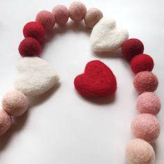 Valentines; Rainbow; Ombre; Garland; Party Garland; Felt Balls; Heart; Playroom; Home Décor; Baby Room; Pom Pom Garland – And so to Shop Felt Ball Garland, Party Garland, Pom Pom Garland, Red Ombre, Paper Tape, Decoration, Kids Bedroom, Wool Felt, Valentine Gifts