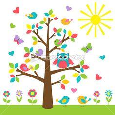 Красочные дерево с милая сова и птицы — стоковая иллюстрация #25009881