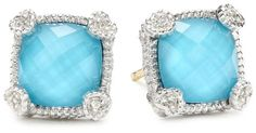 Judith Ripka %22Linen%22 Blue Small Cushion Stone Stud Earrings