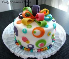 Fun colors for a little girl – Covered with fondant, marcipan decorations. VACakelady's idea. Fun colors for a little girl – Covered with fondant, marcipan decorations. Pretty Cakes, Cute Cakes, Fondant Cakes, Cupcake Cakes, Simple Fondant Cake, Fondant Bow, Novelty Cakes, Birthday Cake Girls, 31 Birthday