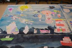 Ostseekinder malen ihr großes Bild | Der Himmel der Ostseekinder (c) FRank Koebsch