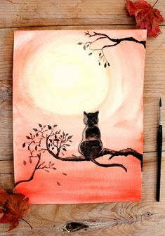 How to draw a cat with watercolor | Cat and cat