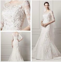 Illusion Jewel Neck 2015 Newest 3/4 Sleeves Beaded Crystals White Lace Wedding Dresses Mermaid Plus Size Bridal Gowns Court Train Vintage Bridal Gowns Online Bridal Party Dresses From Weddingdressseller, $152.88| Dhgate.Com