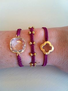 Macrame Bracelet in Raspberry Chinese knotting by MandarinAndMint