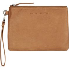 Status Anxiety Fixation Clutch Brown ($61) ❤ liked on Polyvore featuring bags, handbags, clutches, accessories, brown, women, leather pouch, brown handbags, leather purses and brown leather pouch
